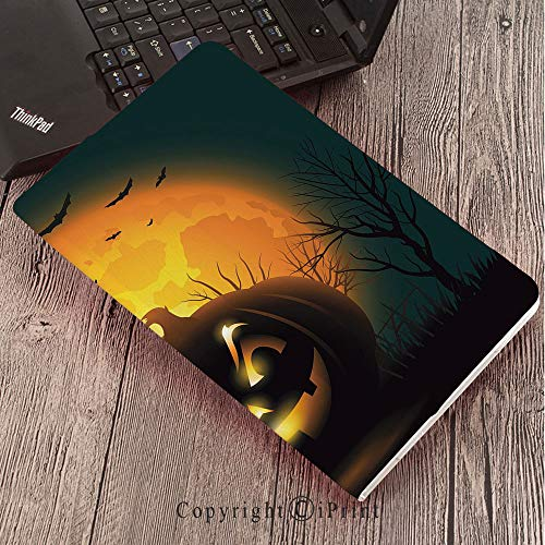 Case for Samsung Galaxy T820 T825 Slim Folding Stand Cover PU Tab S3 9.7,Halloween,Fierce Character Evil Face Ominous Aggressive Pumpkin Full Moon Bats Decorative,Orange Dark Brown Black ()