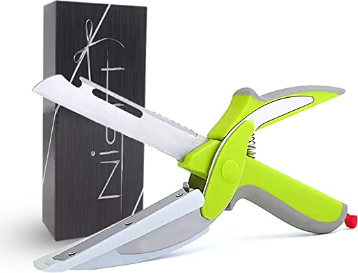 Nish Clever Kitchen Food Cutter Scissor Chopper Salad 5 in 1 Slicer with Built in Cutter Board - Ideal Tool For Picnics
