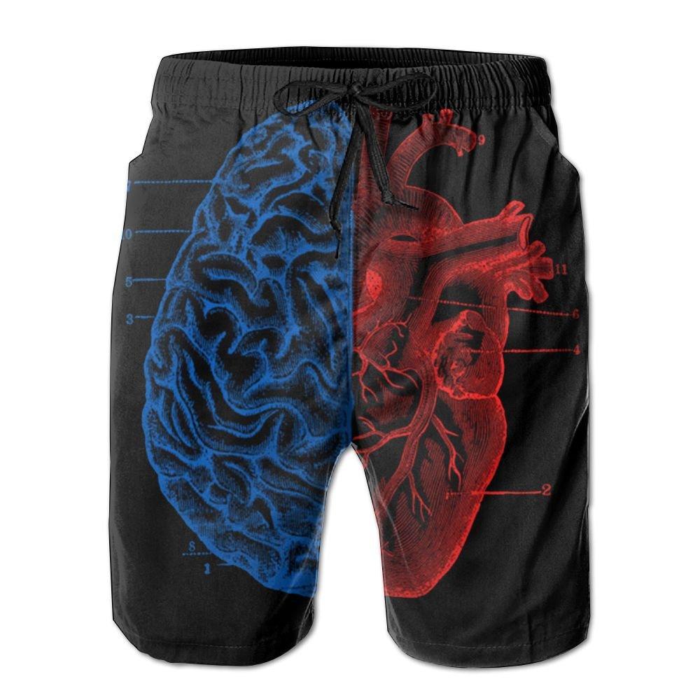 New Cartoon Fashion Heart And Brain Mens Beach Pants Casual Shorts For Man