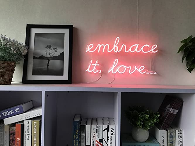 Amazon.com: Embrace It Love Real Glass Neon Sign For Bedroom Garage ...