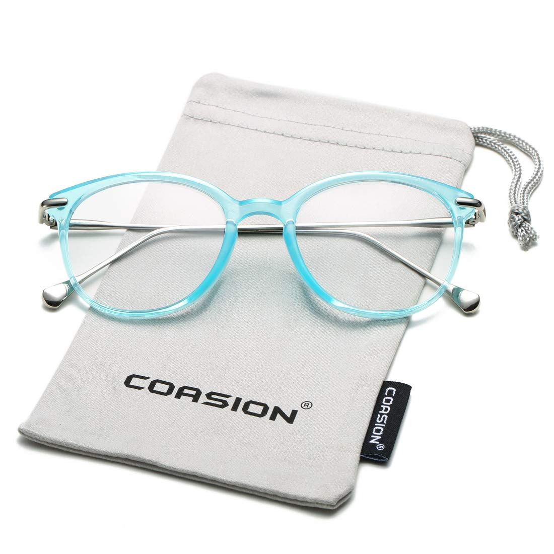 COASION Vintage Round Clear Glasses Non-Prescription Eyeglasses Frames for Women Men CA7013I