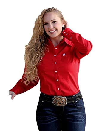 16dab0d3435250 Cinch Apparel Womens Ladies Red L/S Button Shirt at Amazon Women's ...