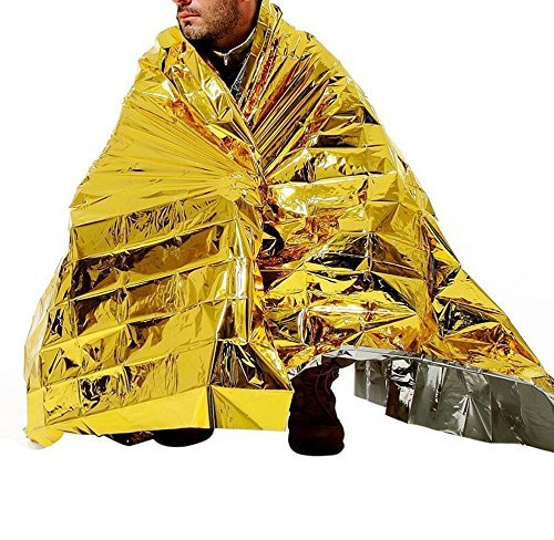 "83 ""× 51"" Foldable Emergency Survival Warm Blanket Outdoor Moistureproof Waterproof Heat Reflective Rescue Mylar Thermal Blanket for First Aid Kits Sports Natural Disasters Camping Equipment (Gold)"