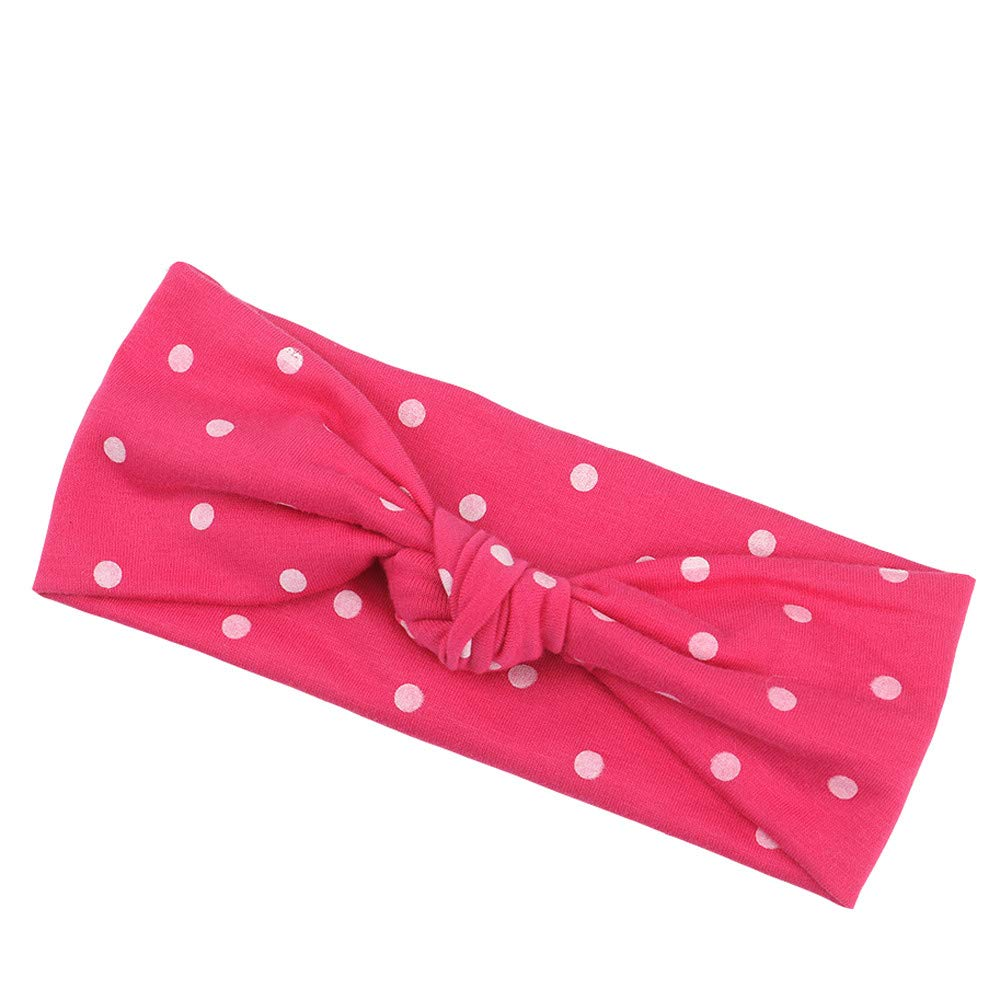 NUWFOR 1Pc Cute Baby Toddler Infant Bowknot Dot Headband Stretch Hairband Headwear(Hot Pink,Free Size)
