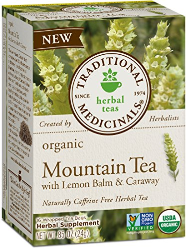 Traditional Medicinals Organic Mountain with Lemon Balm & Caraway Herbal Tea, 16 Count, (Pack of 6)