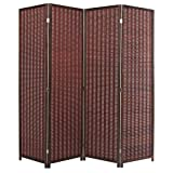 MyGift Decorative Freestanding Brown Woven Bamboo 4 Panel Hinged Privacy Screen Portable Folding Room Divider