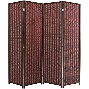decorative brown woven bamboo 4 panel hinged privacy screen portable folding room divider - Portable Room Dividers