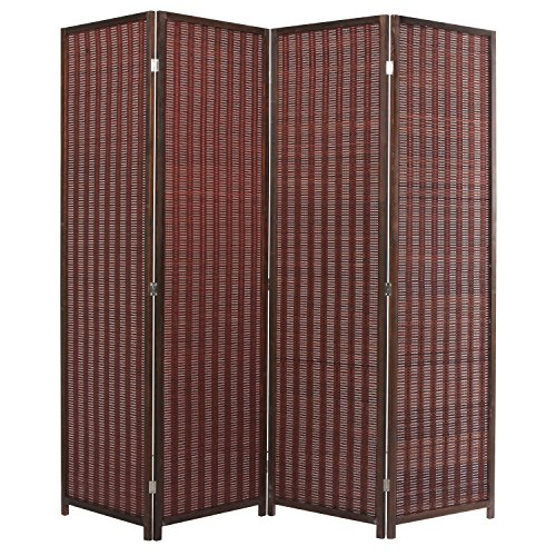 MyGift Decorative Freestanding Brown Woven Bamboo 4 Panel Hinged Privacy Screen Portable Folding Room Divider (Wooden Screen Dividers)