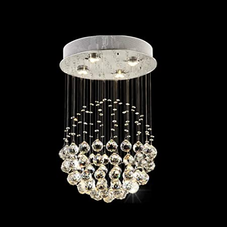 Modern Crystal Chandeliers Lighting Fixture for Hotel Lobby Foyer Ball Shape Rain Drop Pendant Lamp