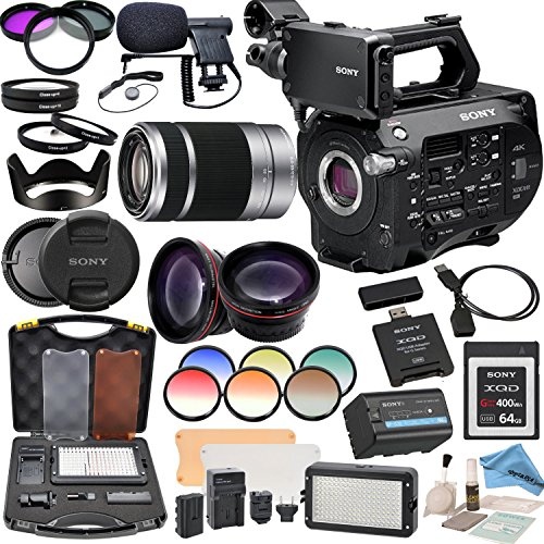 Sony PXWFS7 XDCAM Camera With Sony E-Mount 55-210mm Lens, Professional 162 LED Light Kit, Sony 64GB G Series XQD Format Version 2 Memory Card and more... by eDigitalUSA