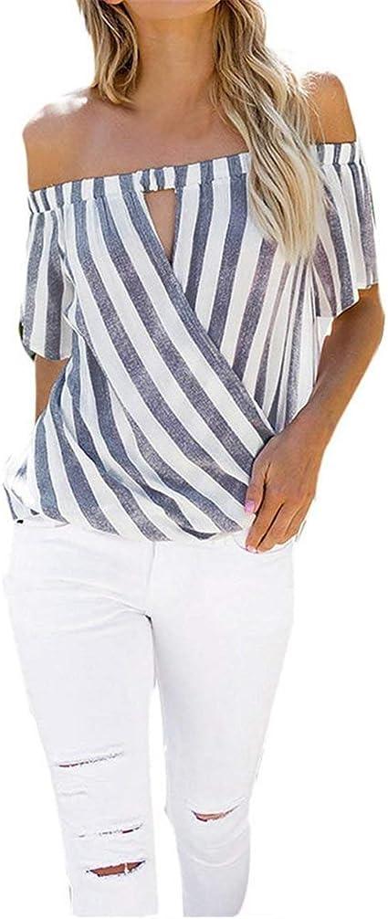 Blusas y Tops para Mujer Moda Estampado a Rayas para Mujer ...