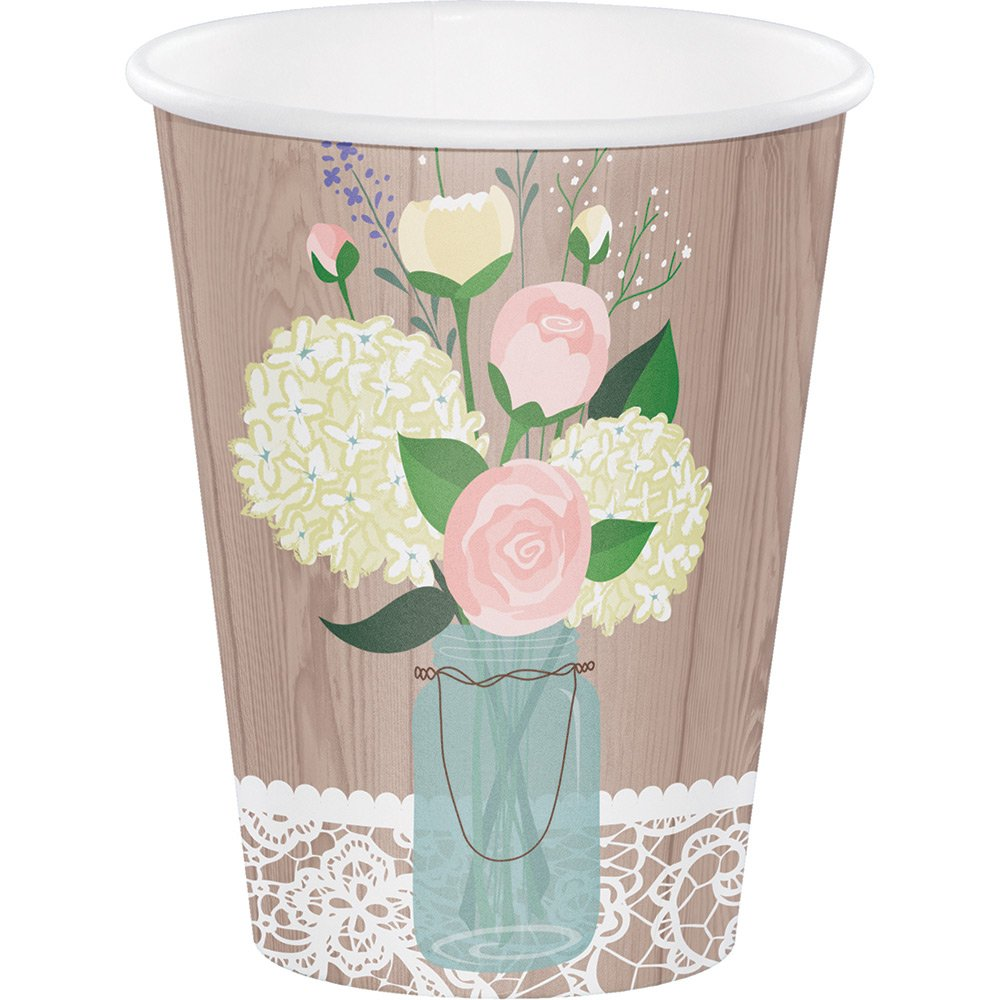 Creative Converting 378706 96 Count 12 oz Hot/Cold Paper Cups, Rustic Wedding