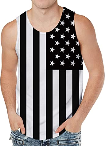 Men's Tank Top Casual Patterns Graphics Tees Cool Sleeveless T-Shirts Beach