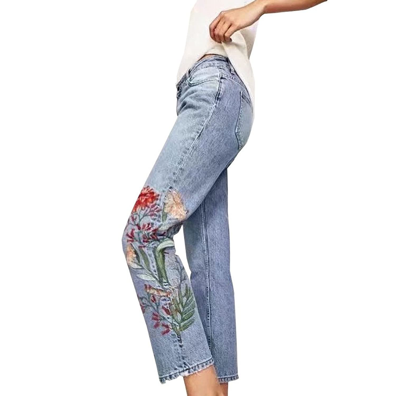 04c17f39cda  flower  Denim Women s High Waist Floral Embroidered Straight-Leg  Girlfriend Jeans Cropped Pants
