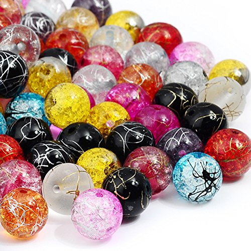RUBYCA Assorted Mixed Round Druk Crackle Czech Crystal Glass Beads for Jewelry Making (8mm, - Druk Round Crystal