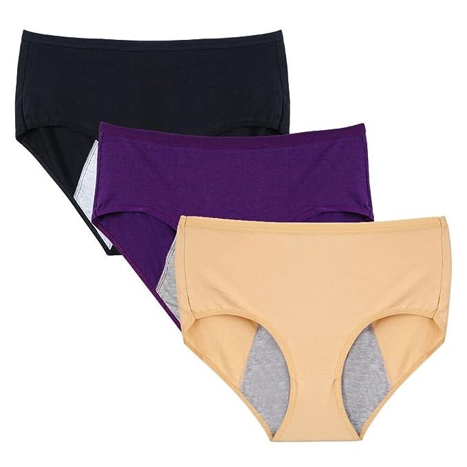 dd73de6eaa4d Nightaste Women Cotton Menstrual Period Briefs Sanitary Leak-Proof Panties(Pack  of 3)