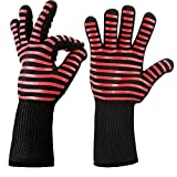 GZQ 1 Pair BBQ Grill Gloves 932°F Heat Resistant Gloves Heatproof Safety Flame Resistant Mitts For Pot Holders Cooking Baking Barbecue Microwave Oven Grilling Fireplace