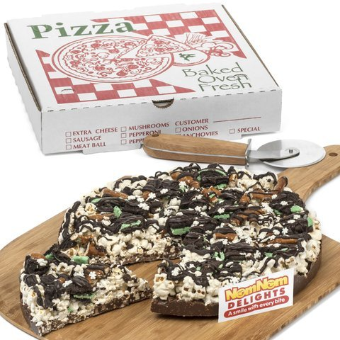 Caramel Popcorn Pizza - Gourmet Chocolate Gift Box | Double Mint Oreo Cookie Chocolate Lovers Popcorn Pizza | Kosher Certified - by NomNom Delights