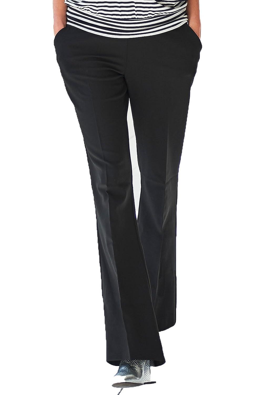 Queen Mum Damen Stretchhose Umstands-Hose Schwangerschafts-Hose stützender Unterbauchbund ausgestelltes Bein Bügelfalte