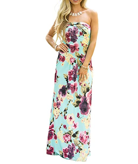 76a0e09c302 Wancy Women s Strapless Vintage Floral Print Party Long Casual Maxi Dress  With Pocket Lake Blue Small