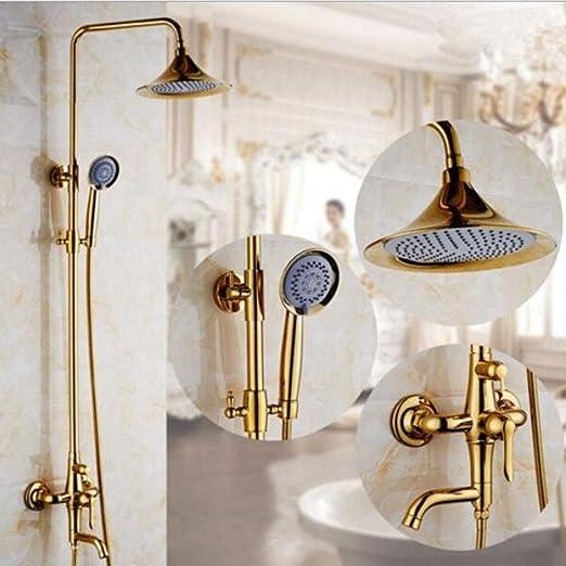 BTSEW Ducha Conjunto, Baño Europeo Cobre Dorado Vintage Ducha de ...