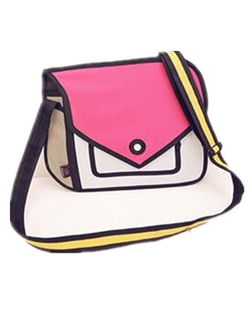 b01900f842 Genius Baby 3D Style 2D Drawing Cartoon Handbag Shoulder Canvas Messenger  Bag Bow Handbags (Pink)