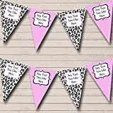Black White Baby Pink Animal Print Personalized Birthday Party Bunting Banner