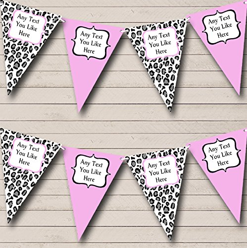 Black White Baby Pink Animal Print Personalized Birthday Party Bunting Banner by The Card Zoo