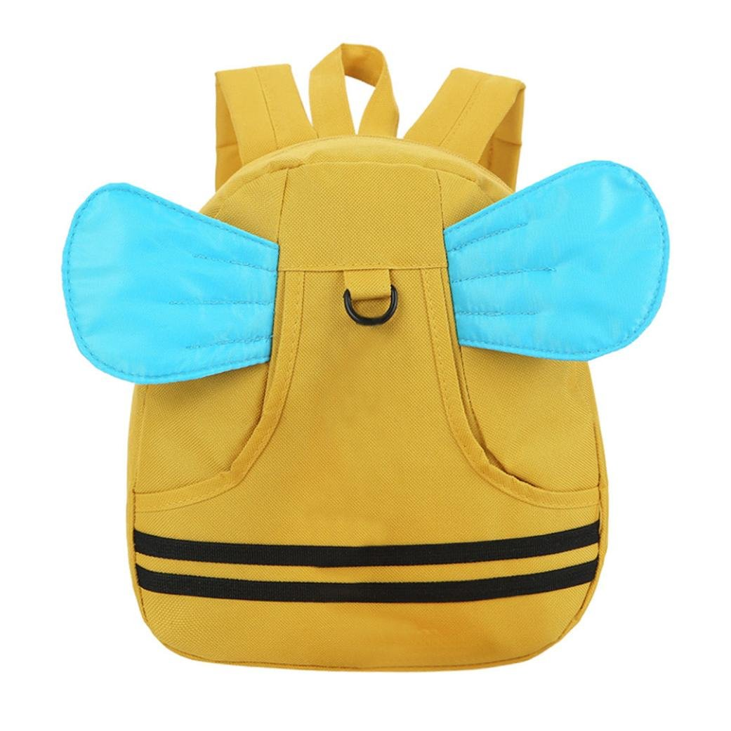 Weite Cartoon Backpack, 4 Colors Breathable Durable Nylon Light-weight School Bag with Three-dimensional Wings, Child Baby Girl and Boy Kids Cute Animal Backpack Toddler Outdoor Bag (Yellow)