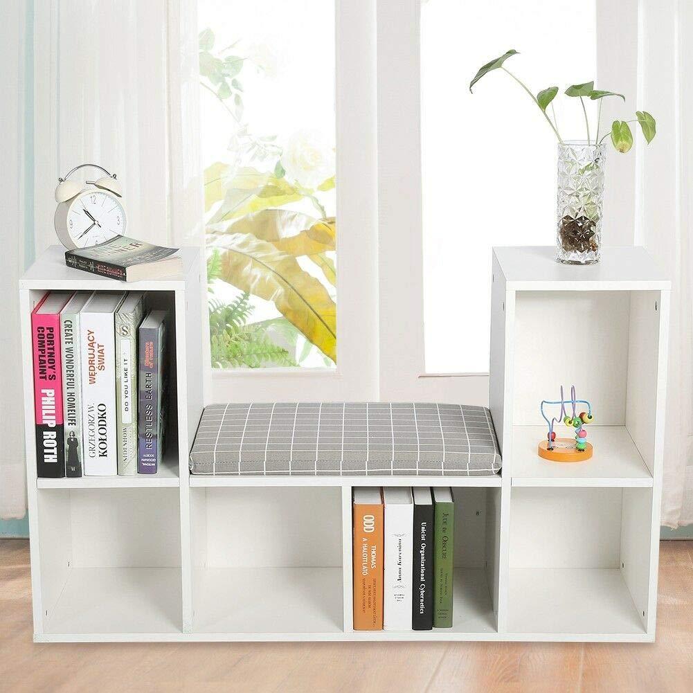 Best Design. Bookcase Storage Shelf Bookshelf Wood Furniture Book Shelving w/Seat Pad Home by Best Design.