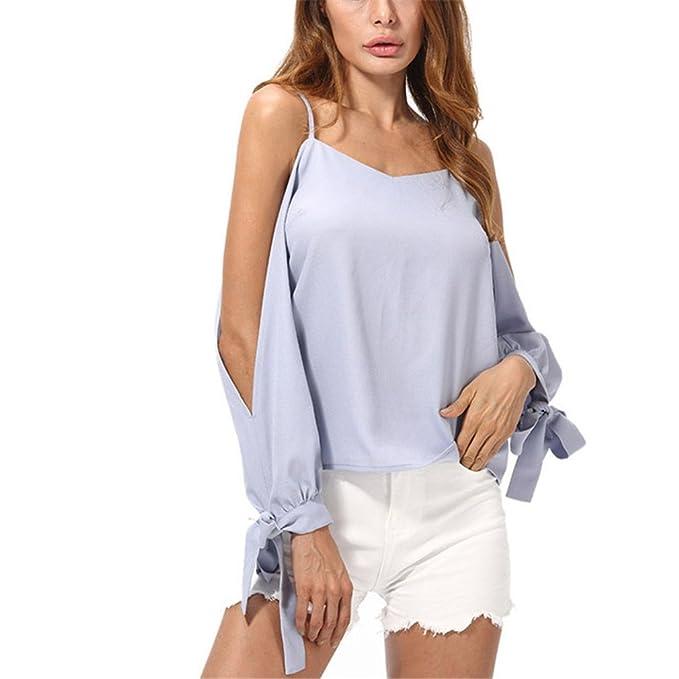 Elegante Sólido Cami Top Blusas para Mujer Moda con Cuello en V Lazo Dividido Manga Larga Blusa Gasa Tops para Mujer: Amazon.es: Ropa y accesorios