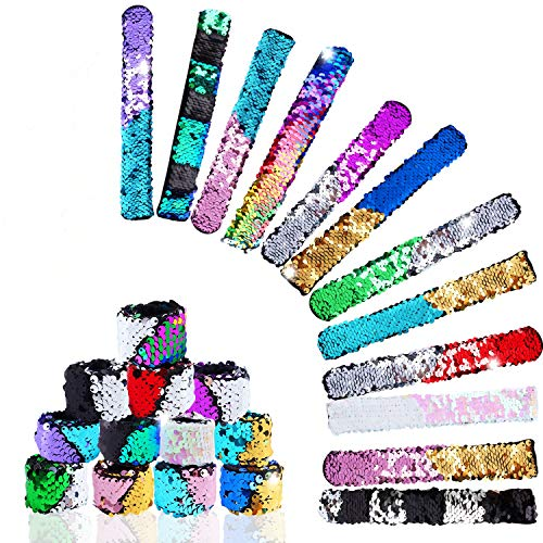 (Hicdaw Bracelet for Mermaid Sequin Slap, 24 Pcs Flip Bracelet for Mermaid Bracelet 24 Colors Wristband for Party Favors)