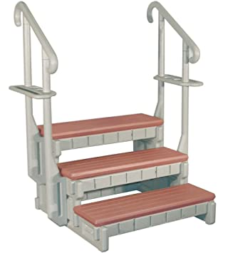 Amazon.com : 3 Tread Spa Step In Gray With Redwood Steps : Spa Ladder Steps  : Garden U0026 Outdoor