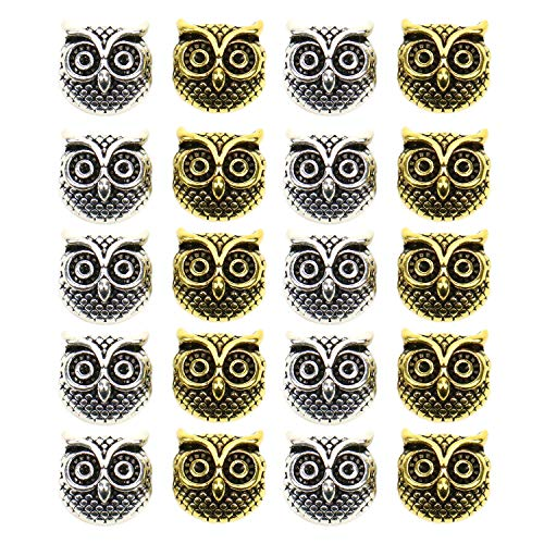 JETEHO 20Pcs Metal Animal Owl Head Charm Beads for Jewelry Making and Crafting,Gold & Silver