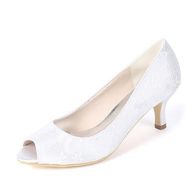 073d4470cad5 Flower-Ager Y1195-01LS Women Mid Heels Peep Toe Pumps Lace Satin Wedding  Evening