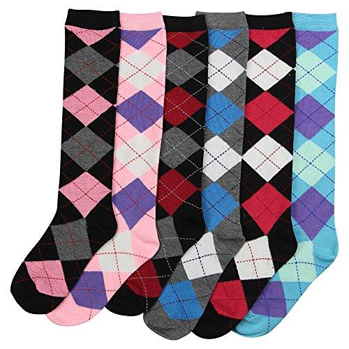 Women's Colorful Striped Knee High Socks 6 Pack (Argyle)