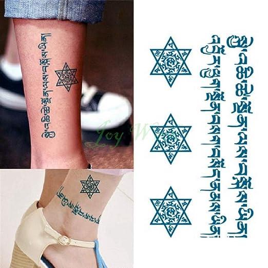 ljmljm 5 Piezas Impermeable Tatuaje Pegatina Negro Blanco Estrella ...