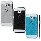 S6 Edge Case, Samsung Galaxy S6 Edge Case - Badalink Glitter Bling Diamonds Logo Cut Out Design Sparkle Skin [Scratch Resistant] Hard PC Cover 3 Color Cases with Stylus Pen - Silver+Black+Blue