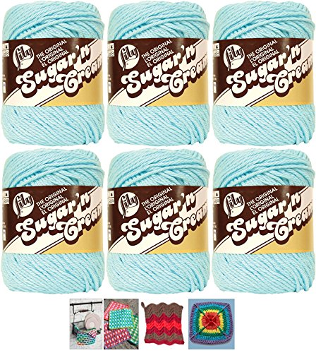 Bulk Buy: Lily Sugar'n Cream Yarn 100% Cotton Solids and Ombres (6-Pack) Medium #4 Worsted Plus 5 Lily Patterns (Robins Egg Blue 01215) (4 Yarn)