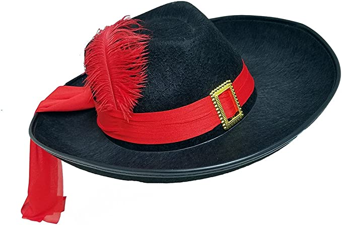 Three Musketeers Black Felt Hat with Red Sash and Feather