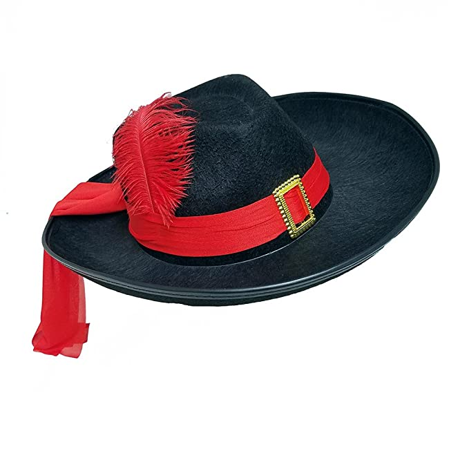 55222450d6d Amazon.com  Three Musketeers Black Felt Hat with Red Sash and Feather   Clothing