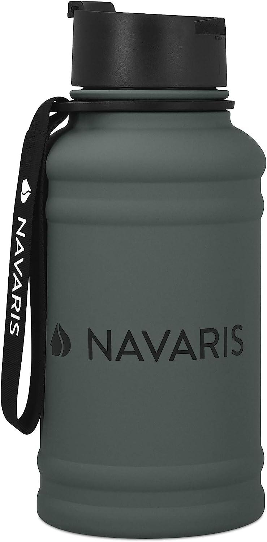 Navaris Botella de Agua de Acero Inoxidable - Cantimplora de Metal de 1.3 L - Garrafa para Bebidas sin BPA para Deporte Camping Gimnasio Yoga Turquesa