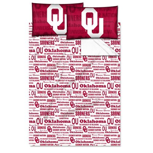 Northwest 821 1COL-82101-0012-WMT Anthem-Oklahoma Col Full Sheet Set Mod (Full Comforter Sooners Oklahoma)