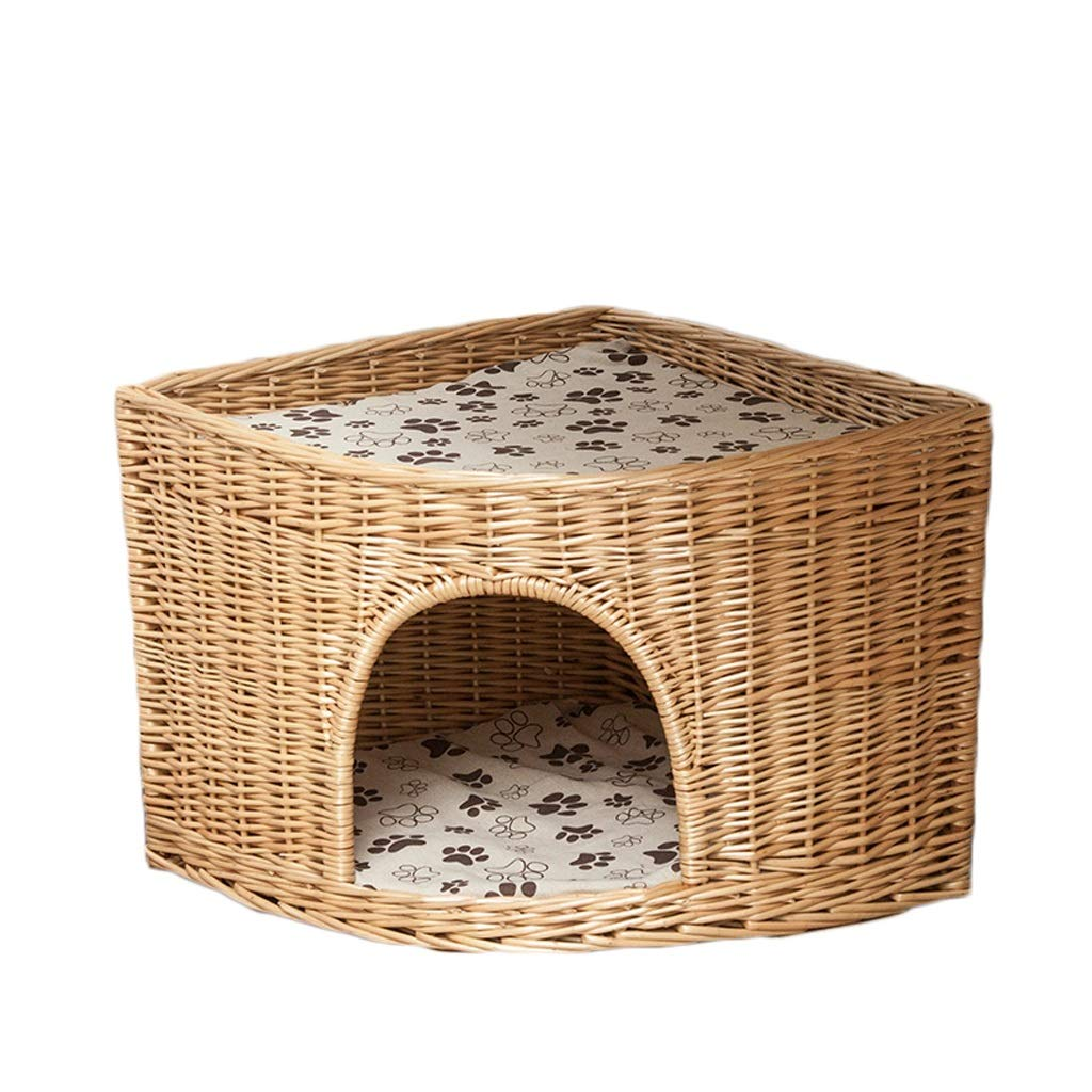 LF-pet supplies Rattan Pet Bed Removable And Washable Four Seasons Universal Dog House Cat Litter Fan Angle