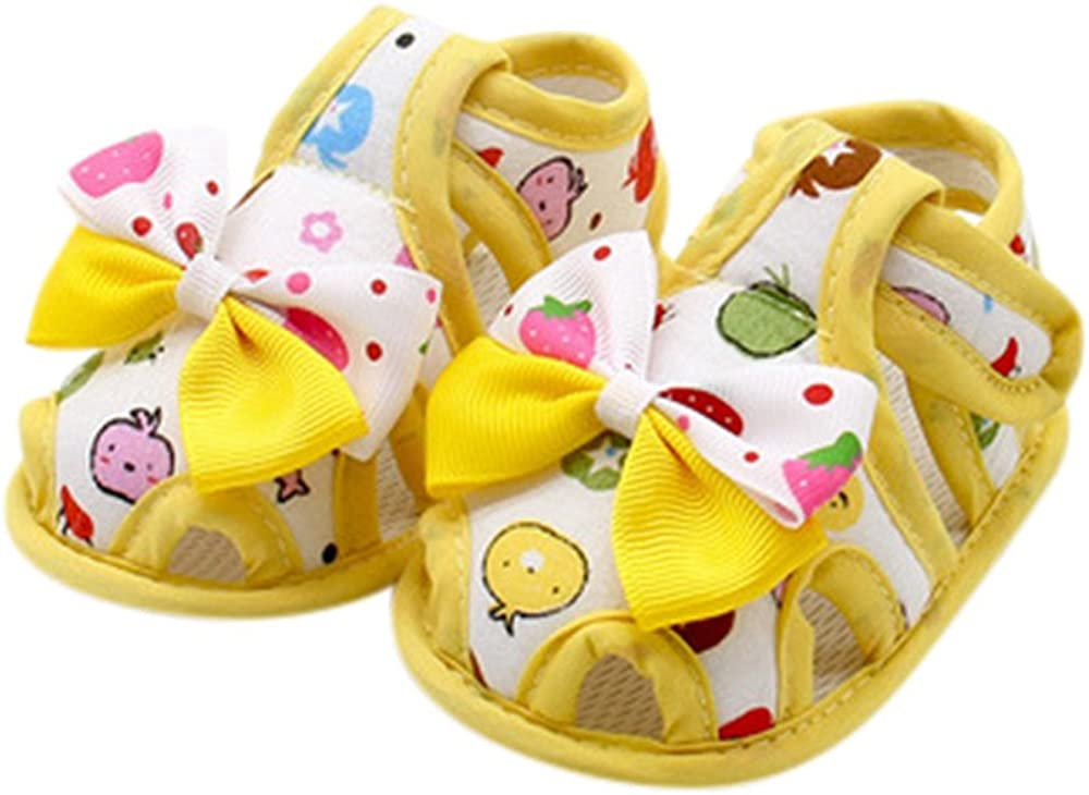 Mealeaf Newborn Infant Baby Girls Summer Bow Soft Sole Toddler Anti-Slip Shoes Sandals 0-18 Month Yellow