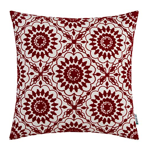 HWY 50 Embroidered Decorative Throw Pillow Covers Cushion Cases for Couch Sofa Bed Wine Red Little Sunflower Farmhouse Floral Burgundy 18x18 inch, 1 Piece