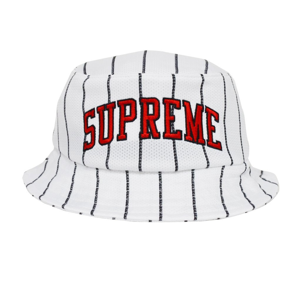 Supreme S//S 2016 Stripe Mesh Crusher Hat White