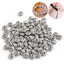 BronaGrand 100pcs 6 mm Antique Silver Spacer Beads European Style Beads for Jewelry Making