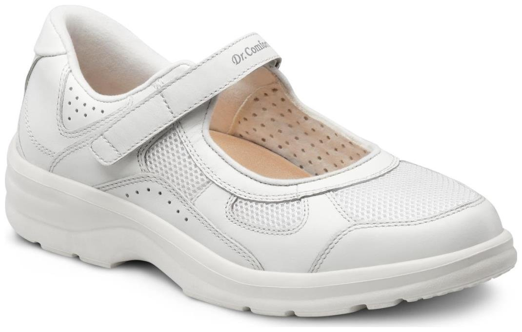 Dr. Comfort Women's Susie White Diabetic Mary Jane Shoes