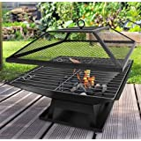 Garden Mile® Black Square Metal Outdoor Garden Fire Pit BBQ Grill Patio Fire Pit Heater Firepit Square Brazier Garden Fire Pit With Poker UK(Square BBQ/Fire Pit)